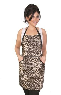 Animal Print Apron  Leopard print  cute salon wear by LadybirdLine, $22.00