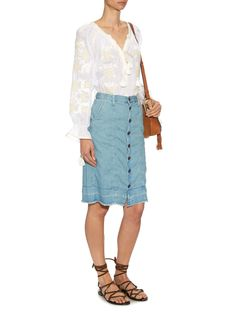 The Short Sally denim skirt | Current/Elliott | Shown here with Vita Kin Heart embroidered linen blouse, Chloé Hudson mini suede cross-body bag and Saint Laurent Nu Pieds lace-up suede sandals