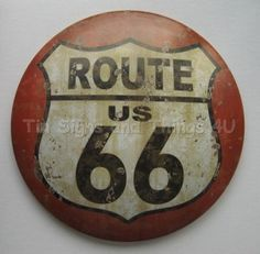 US Route 66 ROUND DOME TIN SIGN
