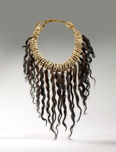 Marquesas Islands ~ French Polynesian islands | Necklace made from hair, metal, and fish bones | 20th century