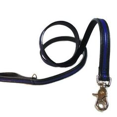 Thin Blue Line Leather Leash w/Stripe