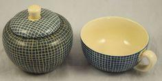 2 zwei Teile Zuckerdose Wächtersbach Tasse Dekor 3899 Form 9775 blau Streifen in Antiquitäten & Kunst, Porzellan & Keramik, Keramik | eBay