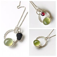 Silver necklace with green gemstone prehnite necklace circle