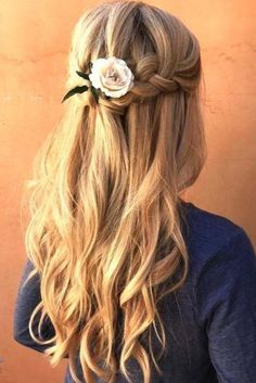 Wedding Hairs braided wedding hair half up half down with curls braid and pink rose yourbraids - From soft waves to gorgeous updos and ponytails, brides have so many hairstyles to consider. See our gallery of braided wedding hair ideas for inspiration! Unique Braided Hairstyles, Flower Girl Hairstyles, Spring Hairstyles, Hairstyles With Bangs, Bridal Hairstyles, Short Haircuts, Hairstyles Haircuts, Half Up Wedding Hair, Wedding Hairstyles Half Up Half Down