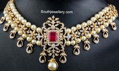 Diamond South Sea Pearls Necklace ~ Latest Jewellery Designs