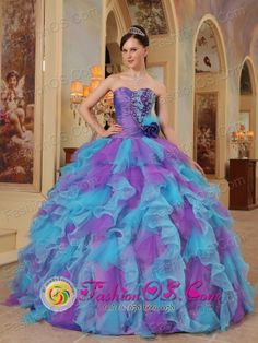 2013 Patzicia Guatemala Organza The Most Popular Purple and Aqua Blue Quinceanera Dress With Sweetheart neckline Ruffles Decorate in Fall St...