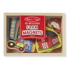 Melissa and Doug - Wooden Farm Magnets: Easy to position and reposition again and again on any magnetic surface, these 20 wooden magnets offer endless farm-themed creative play opportunities--all while improving hand-eye coordination and fine motor skills! Convenient wooden storage case keeps everything neatly stowed away after playtime. These colorful magnets with friendly graphics are great for matching, sorting, and storytelling. Ages 2+ years #alltotstreasures #melissaanddoug…