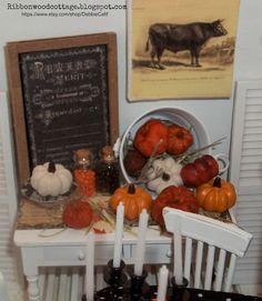 A little fall-Miniature plates, silverware, pumpkins....