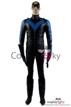 Batman: Arkham City Nightwing Richard John Dick Grayson Cosplay Costume_7