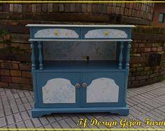 Mueble Auxiliar Azul Vintage, Mueble Pintado Azul, Mueble Vintage, Mesa Tv Vintage, Mueble puertas Muebles cajones, Mueble tv. Mesa Auxiliar