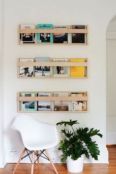 Secure your magazines to the wall for a low-cost way to dress up your office.