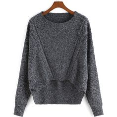 SheIn(sheinside) Grey Round Neck Dip Hem Knit Sweater (145 DKK) ❤ liked on Polyvore featuring tops, sweaters, grey, round neck top, gray top, gray sweater, grey sweater and knit tops