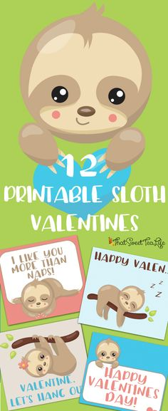 Adorable Printable Sloth Valentines