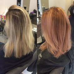 Copper ombre hair with rose gold highlights