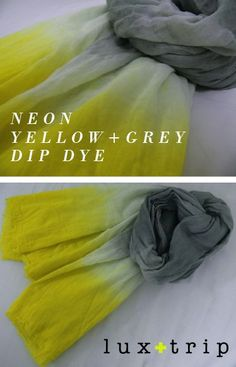 DIY: neon & grey dip dye scarf - love the colour combination-- inspiration for a yarn blank? Crafty Craft, Crafty Projects, Diy Projects To Try, Shibori, How To Tie Dye, How To Dye Fabric, Ombre Fabric, Diy Sac Pochette, Diy Scarf