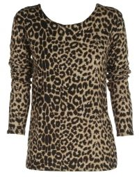 cute cheap clothes to order.....Brown Leopard Print Long Sleeve Top