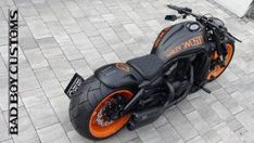"Awesome custom bike Harley Davidson V Rod ""GEOrange"" by Bad Boy Customs Harley Davidson V Rod, Harley Davidson Tattoos, Harley Davidson Street Glide, Night Rod Custom, Vrod Custom, Vrod Harley, Harley V Rod, Night Rod Special, Harley Davidson Merchandise"