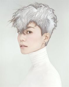 Faye Wong for Harper's Bazaar Chen Man (via Nowness) Man Photography, Fashion Photography, Creative Photography, Faye Wong, Ponytail Girl, Creative Portraits, Pixie Hairstyles, Haircuts, Fashion Images