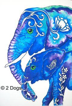 Elephant+art+print+Mom+and+Baby+elephant+wall+by+2DogsArtAndPrints,+$14.50
