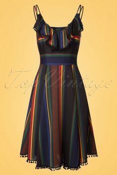 Voodoo Vixen Adelyn Striped Dress multicolour black jurk strepen multikleuren