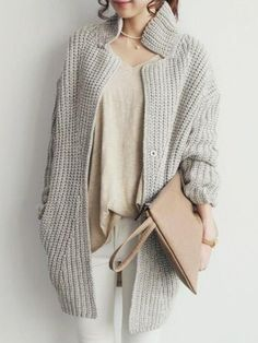 casual chic ... love the classic color palette, chunky cable knit layered over fluid/draped top.