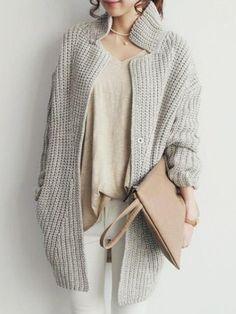 Gray Long Sleeve Oversize Cardigan