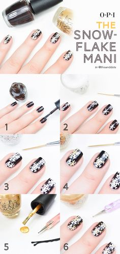 Feeling festive? Try this OPI snowflake mani tutorial! White polish (OPI Alpine Snow) is white-hot this season and paired with a black base (OPI Love is Hot and Coal) and gold accents (OPI Rollin' in Cashmere) you can't go wrong!