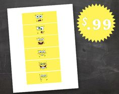 Spongebob Birthday Party Bubble Bottle Face Expressions Label Printable Set of Six JPEG on Etsy, $0.99
