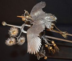 Japanese Edo Period Silver and Gilt Hair Pin (Kanzashi). About early 19th century, Japan Japanese art