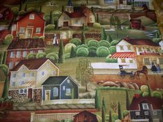 "1 Yard X44"" Country Store by Betty Caithness Windham Fabrics Scenic Amish life bakery book store by QuiltFabricbyLois"