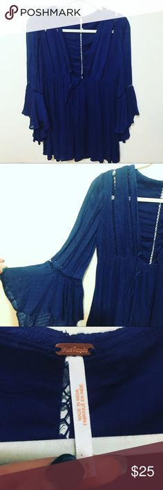 NWOT Free People Dress Perfect condition, never worn. Super lightweight and pretty. Free People Dresses Long Sleeve