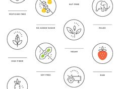 Food Icons real food icons healthy food icons simple natural food icons sustainability soy free icon paleo line icon high fiber vegan icon iconography outline food icons food value icons Icon Design, Logo Design, Brand Design, Graphic Design, Food Value, Icon Package, Recipe Icon, Organic Market, Packaging