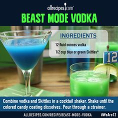 Beast Mode Vodka | Vodka infused with Skittles candy for cocktails aglow with your team's colors. We made ours blue and green for our hometown team, the Seattle Seahawks. Serve over ice, or shake into your favorite vodka-based cocktail!