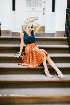 Navy Lace Tank + Pleated Skirt   Mckenna Bleu   Bloglovin'