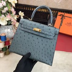 Hermes Original Ostrich Leather Kelly 25cm/28cm Iron-gray Hermes Kelly 25, Designer Purses, Bag Sale, Iron, The Originals, Leather, Bags, Style, Fashion