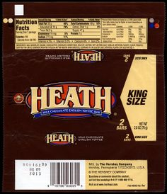 Hershey - Heath - King Size - candy package wrapper - 2012 by JasonLiebig, via Flickr