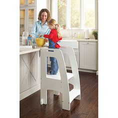 Step Up Kitchen Helper in White from PoshTots (genius, so helpful. Plus it supports up to 200 lbs so adults can use it as a mini ladder)