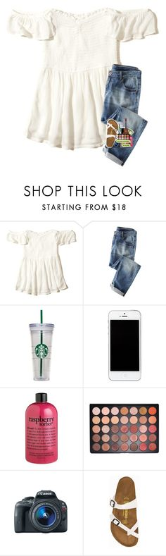 """""""so warm today :)))"""" by sanddollars ❤ liked on Polyvore featuring Hollister Co., WALL, philosophy, Morphe, Eos and Birkenstock"""