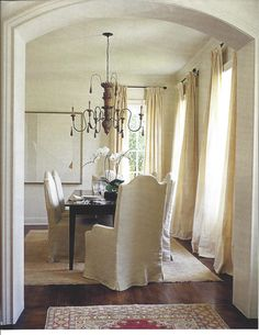Slipcover chairs for a traditional dining feel