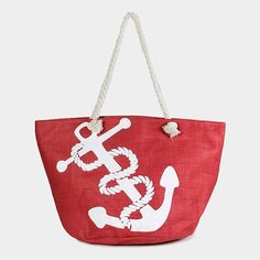 Red Nautical  White  Anchor  Tote Beach Bag Shopping Tote