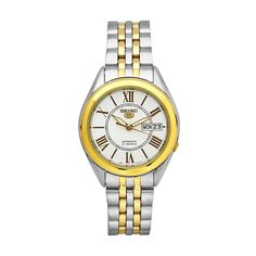 Seiko Mens 5 Series Watch Automatic Two Tone Band White Dial