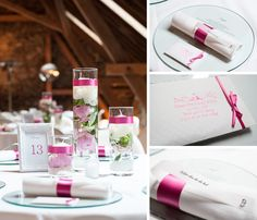 Tischdeko, pink, Hofgut Hohenstein