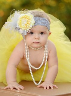 Yellow & Silver Ranuculus Rhinestone Flower Lace Infant Headband