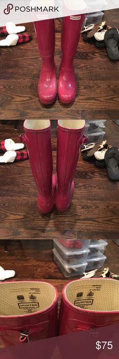 Tall Pink Hunter rain boots Tall pink boots, worn just a couple times per year. Size 7/8 Hunter Shoes Winter & Rain Boots