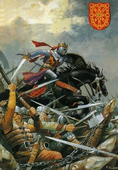 Art by Pierre Joubert - The Battle of Las Navas de Tolosa, July in which an allied Christian defeated the Almohad Moors The Caliph had his tent surrounded with a bodyguard of slave-warriors. Medieval World, Medieval Knight, Medieval Armor, Medieval Fantasy, Medieval Times, Military Art, Military History, Paul Bonner, John Howe