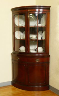 Corner China cabinet--great idea for window area near table--PAIR DREXEL TRAVIS COURT MAHOGANY CORNER CABINETS : Lot 217