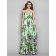 A-line/Princess Strapless Floor-length Print Chiffon Grace Evening Dress – EUR € 189.74