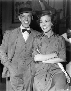 Medium BTS shot of Fred Astaire as Tony Hunter and Nanette Fabray as Lily Marton.