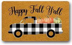 Autumn Decorations, Fall Decor, Welcome Door Mats, Funny Doormats, Happy Fall Y'all, Pumpkin Decorating, Funny Signs, Floor Mats, Indoor Outdoor