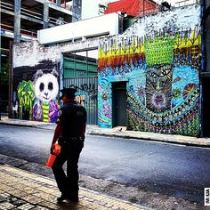 Murals by Colombian artists Cesar and Malegria in San Telmo, Buenos Aires. Bs As, South America, Times Square, Graffiti, Street Art, Murals, Instagram Posts, Artists, Buenos Aires